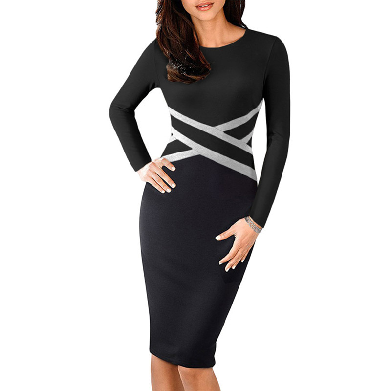 116ec060752 Bandage Dress Spring Full Sleeve Slim Waist Knee Length Vestidos Elegantes Midi  Women Nice Black Dresses