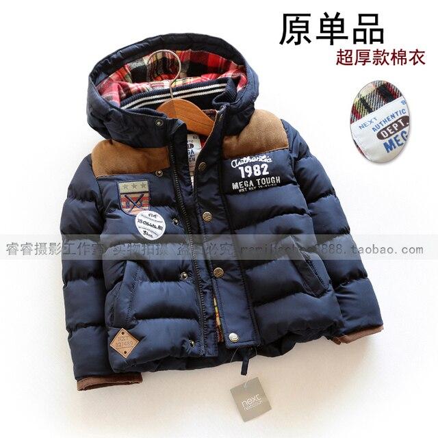 Вниз и парки новый 2015 осень зима куртки детская одежда мальчиков свободного покроя дети куртки толстые капюшоном плащи