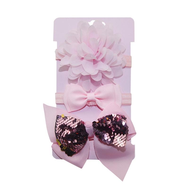 Headwear Baby Girls Hairbands 3Pcs Kids Elastic Floral Headband Baby Girls Sequins Bowknot Hairband Set tiara infantil #4S12 (6)