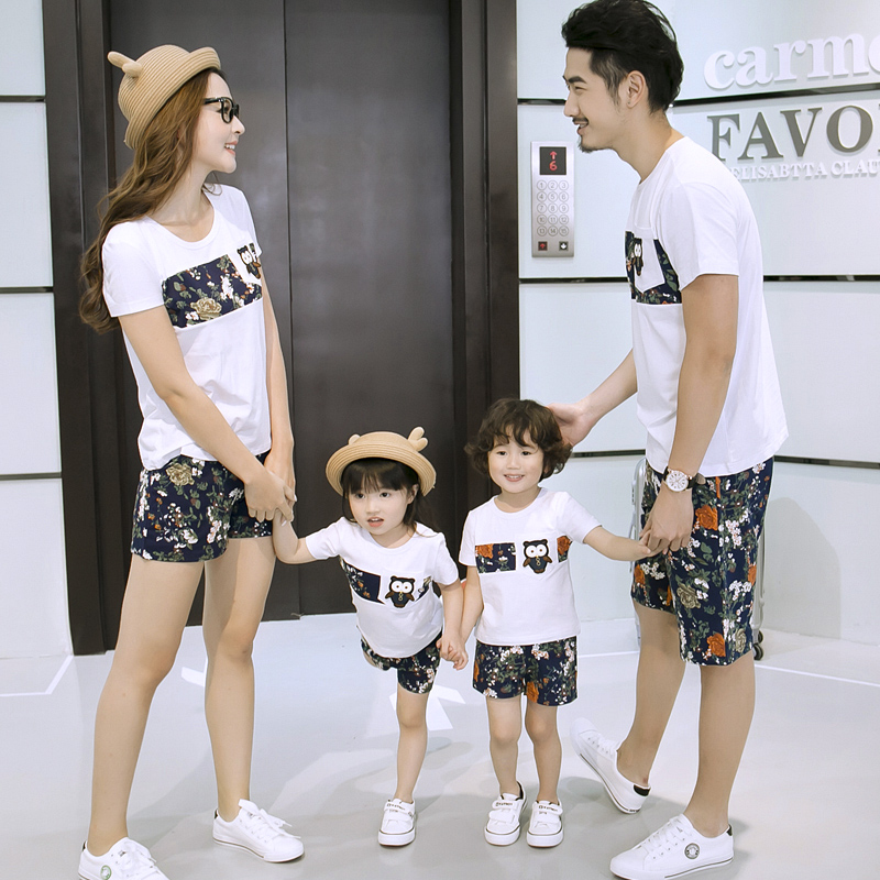 Family Fashion Summer Family Matching Outfits Set Cotton Short Sleeve T Shirt And Short Pant For