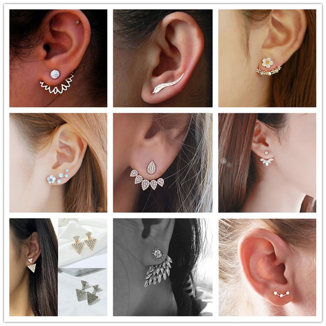 Crystal Flower Double Sided Gold Silver drop earrings For Women fashion Jewelry