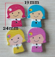 WB0061 HOT SALE 150pcs buttons wood cartoon children girl clothes sewing accessories
