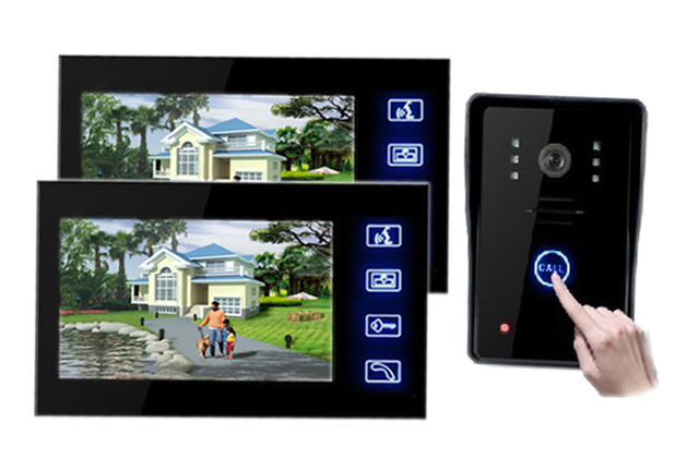 """Freeshipping by DHL 2.4GHz Wireless Video Door Phone Intercom with7"""" Indoor Monitor 2.4GHz wireless video intercom"""