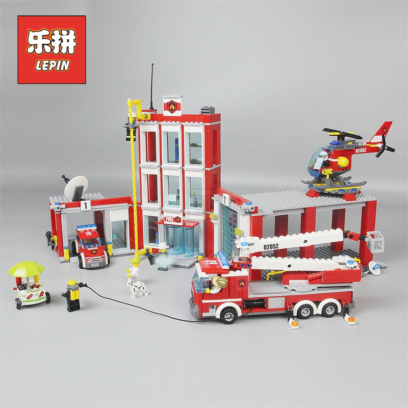 Lepin 02052 the City Fire Station Set Fireman Building Blocks Bricks Educational DIY Toys Compatible Legoinglys Kids 60110 Gift lepin 02052 genuine city series the fire station set legoing 60110 building blocks bricks educational toys as christmas gift