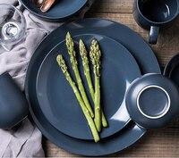 สีทึบเซรามิกแบนอาหารครัวอาหารเย็นจานอาหารค่ำถาดอาหาร
