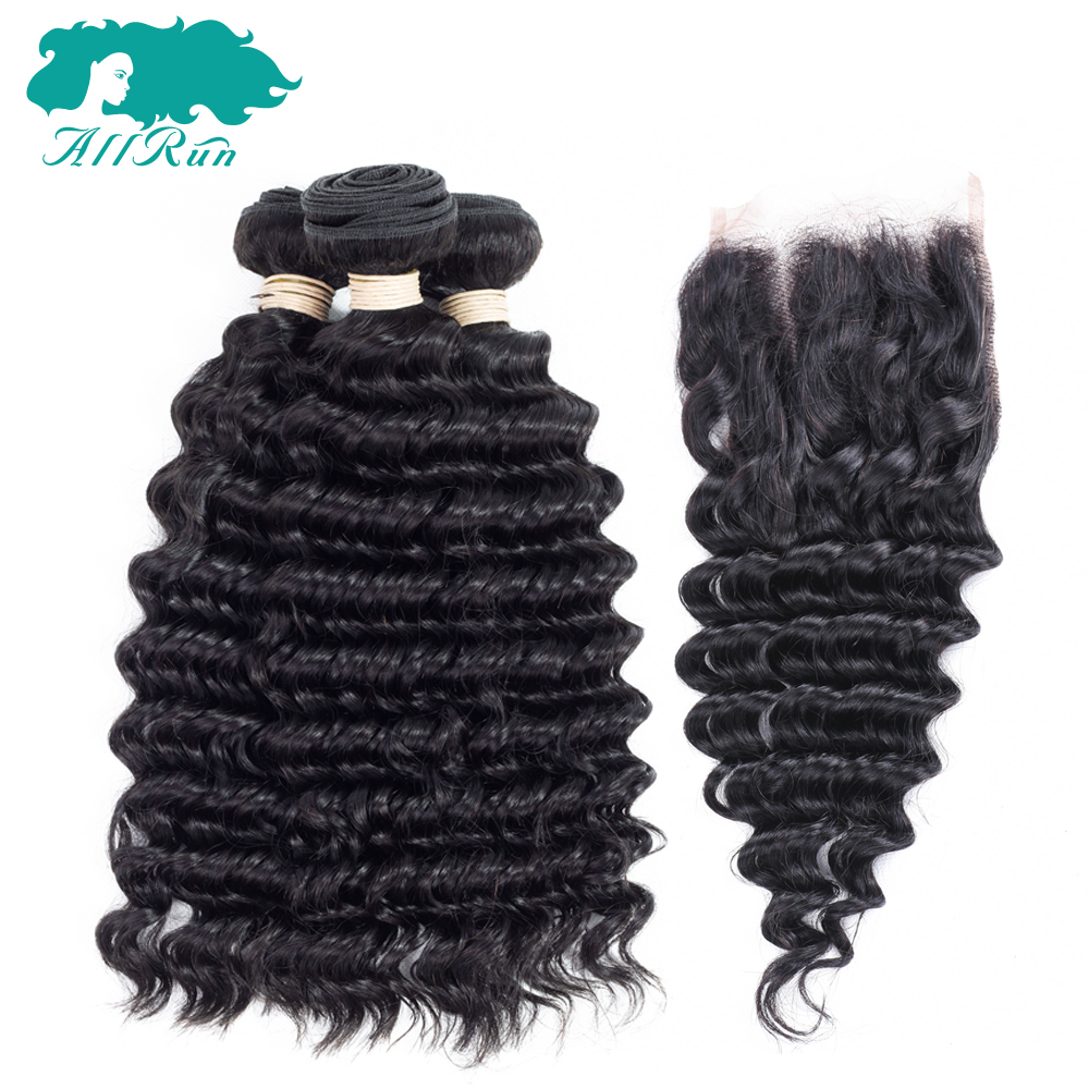 Allrun Hair Malaysian Deep Wave 3 Bundles Human Hair With Lace Closure 4*4 Free Part Natural Color Free Shipping Non Remy Hair