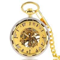 Gold Pocket Watches For Men Transparent Design Hand Wind Mechanical Clock Pendant Stylish Luxury Golden Chain