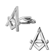 Men's shirts Cufflinks high-quality copper material Silver Masonic sign Cufflinks Cufflinks 2 pairs of packaging for sale