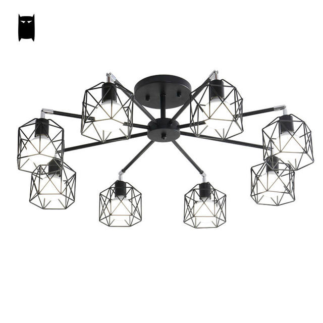 Online Shop White Black Cage Spider Ceiling Light Fixture Modern