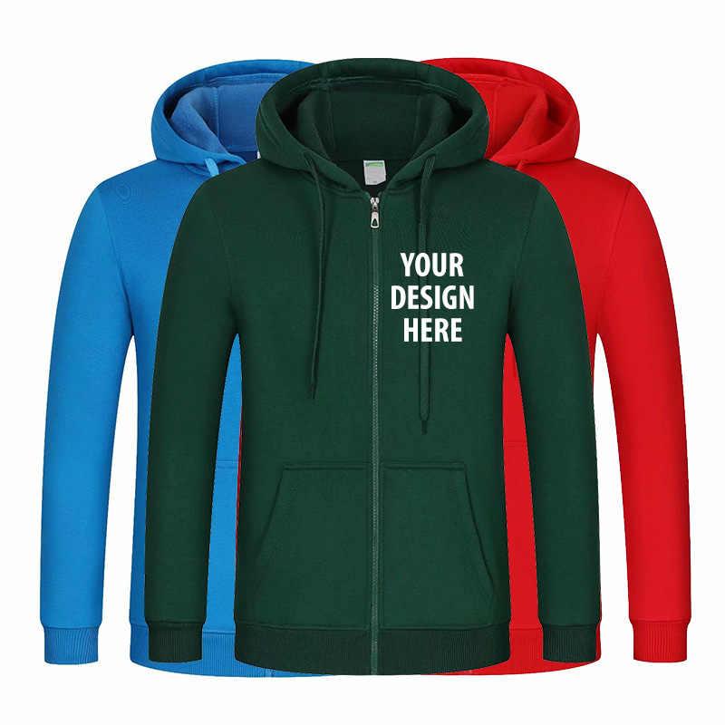 Cetak Kustom Anda Sendiri Desain Pullover Zipper Hoodie Pria dan Wanita Kasual Katun Mantel Jaket Unisex Kaus