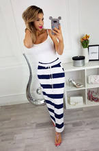 MeiHuiDa 2018 New Style Fashion Women's Long Stripe Jersey Full Length Long High Waist Fold Over Loose Skirt(China)