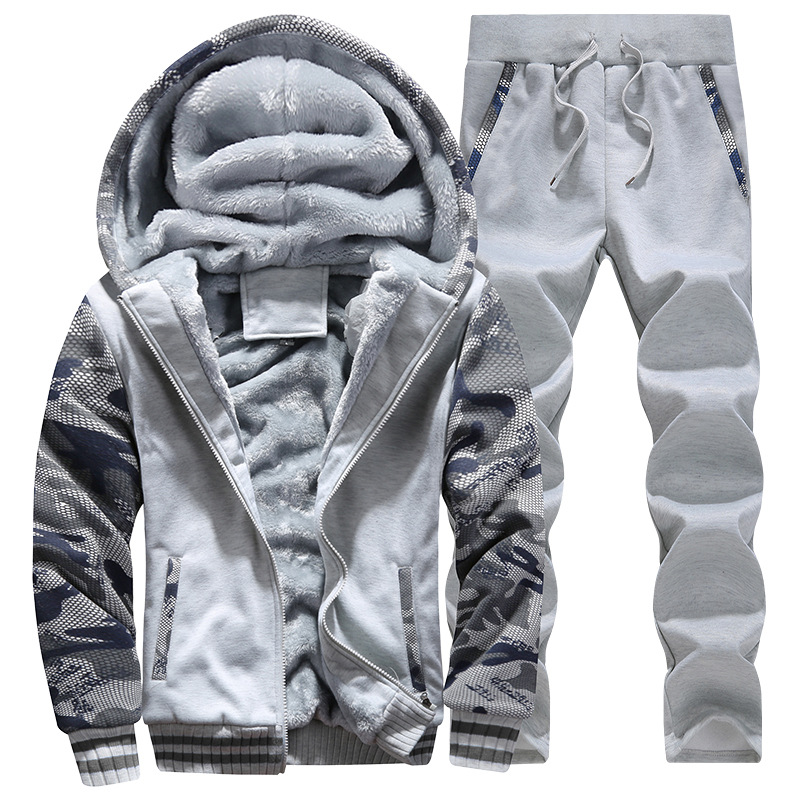 92d5fd03231 Tracksuit Men Sporting Fleece Thick Hooded Brand-Clothing Casual Track Suit  Men Jacket+Pant Warm Fur Inside Winter Sweatshirt