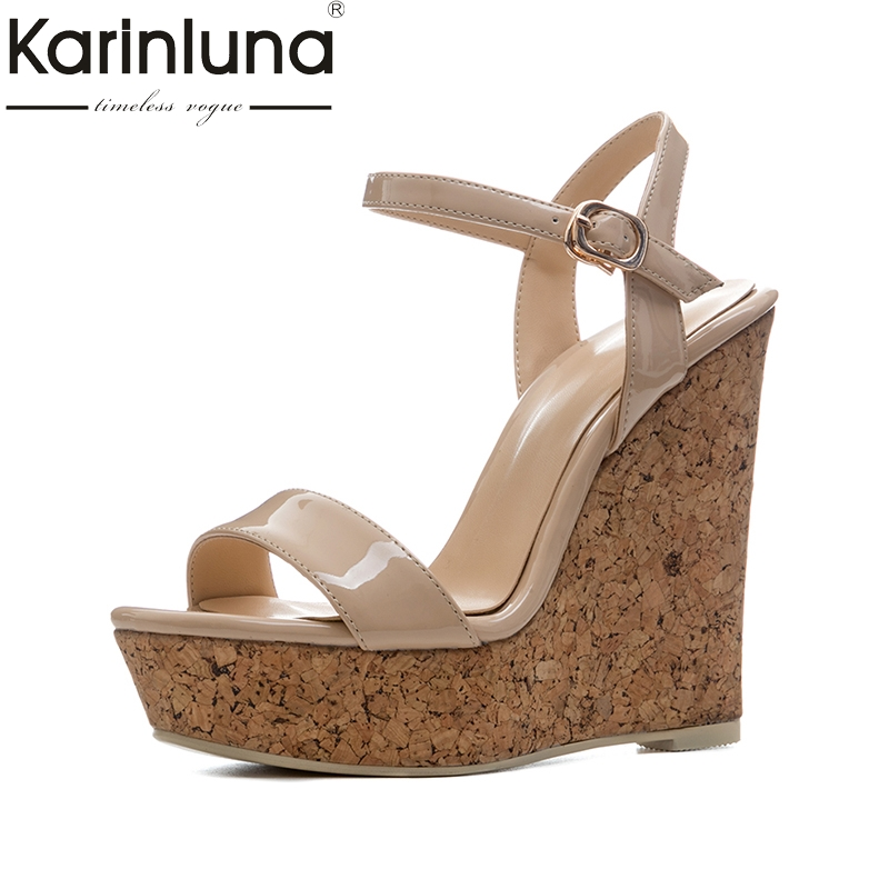 KarinLuna new size 34-41 sexy platfrom party shoes woman brand wedges high heels ankle strap gladiator summer sandals shoes new arrival black brown leather summer ankle strappy women sandals t strap high thin heels sexy party platfrom shoes woman