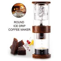 400ml Portable Double Layer Ice Drip Coffee Pot Cylindrical Ice Cold Brewed Coffee Maker Glass Bottle Coffee Machine
