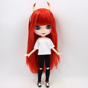 Image 2 - Blyth combinaison de poupées rouges petit diable avec articulation à visage mat vêtements de corps et chaussures de corps corne diable, ensemble à main AB en cadeau 1/6 BJD