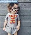 2017 bebés del verano ropa de recién nacido de los bebés del mameluco manga corta mono del bebé niño de las muchachas ropa navy girls personalizada
