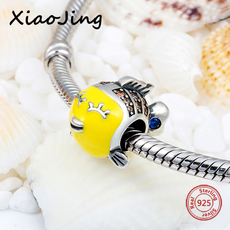 100% 925 sterling silver charms tropical little fish with yellow enamel&CZ fit original pandora bracelet diy jewelry making gift