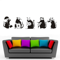 Banksy Five Mouse Graffiti Wall Stickers Classic Vinyl Street Wall Banksy Art Collection Wall Stickers Home