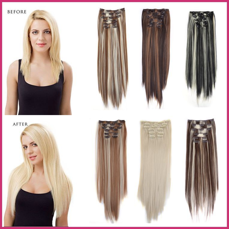 1SET Natural Clip Hair Extensions Full Head Synthetic Clips 7 pieces 22inch 55cm 130g Heat Resistant - Ustyle hair store
