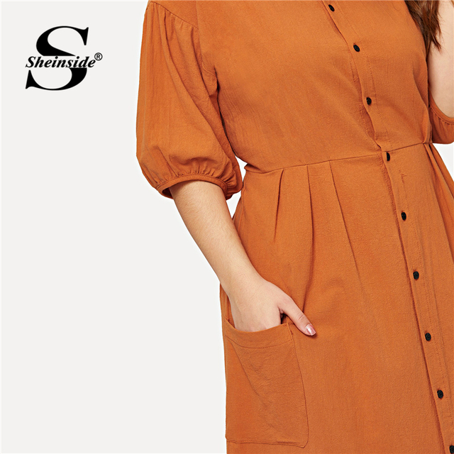 Sheinside Plus Size Orange Pocket Button Front Shirt Dress Women Half Sleeve Bodycon Summer Dresses 2019 Casual Solid Midi Dress 4