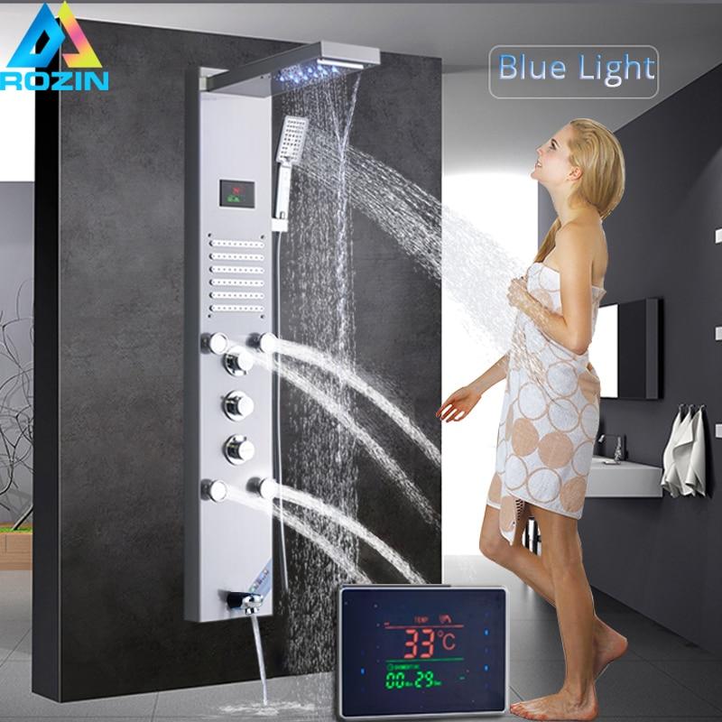 Nichel spazzolato Pannello Doccia Rubinetto Luce Blu Da Bagno Doccia Sistema di SPA Spray per il Corpo Massaggio Getti di Temperatura Digitale Dello Schermo di Colonna