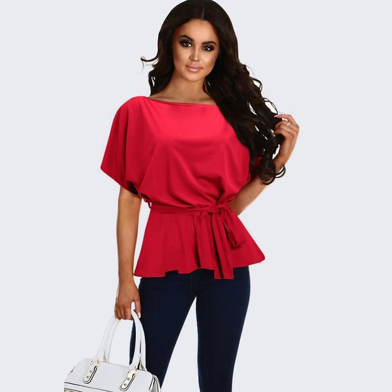 Elegant Summer Women Blouse Solid Half Batwing Sleeve Bandage Tie Waist Slim Tops Party Club Streetwear Blusas Mujer 2019 New