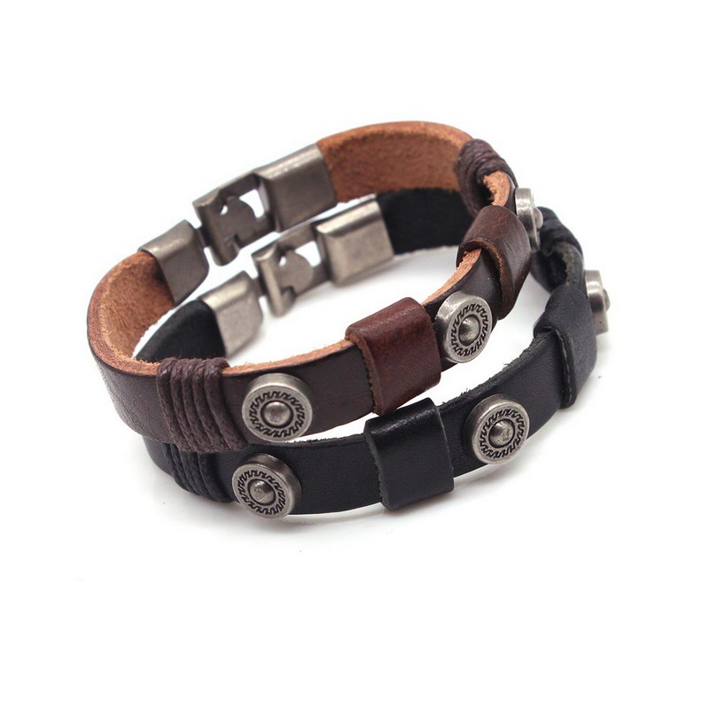 Rainbery Women Leather Bracelets Vintage Buckles Charm Snap Leather Bracelets Bangle Jewelry Accessories JB0477