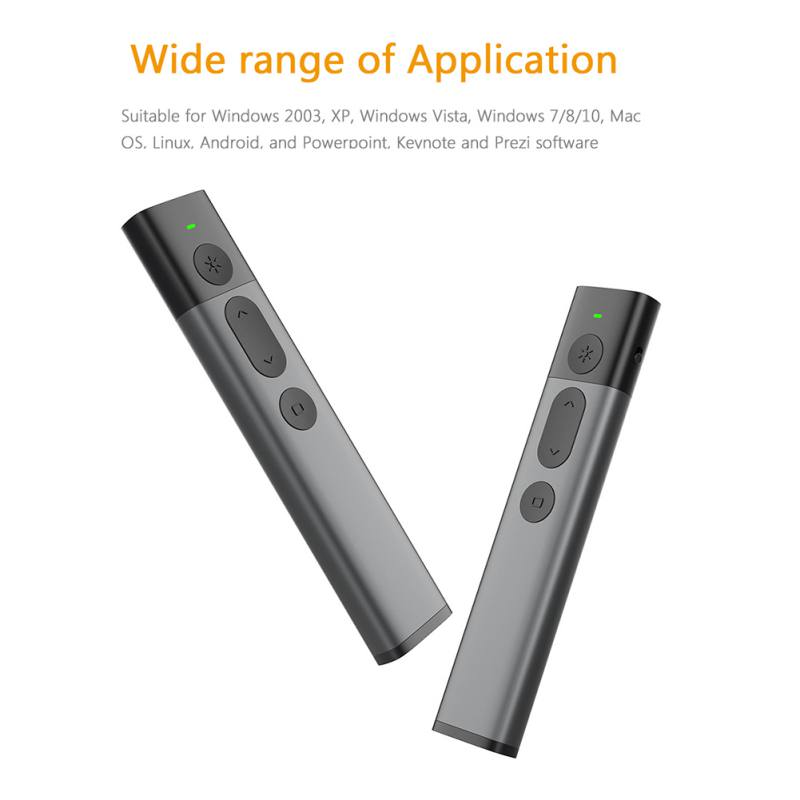 Présentateur sans fil portatif 2.4 GHz USB télécommande PPT avec pointeur Laser vert stylo à bille Laser pour présentation Powerpoint