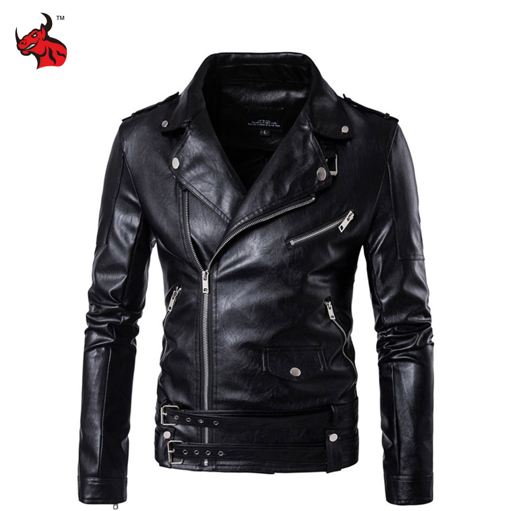 New Retro Vintage Faux Leather Motorcycle Jacket Men Turn Down Collar Moto Jacket Adjustable Waist Belt Jacket Coats men faux shearling plaid jacket