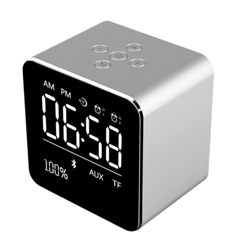 yAyusi V9 Portable Bluetooth Speaker 1800mah Speaker Plug in Memory Cassette Display Alarm Clock Compatible Smartphone audio
