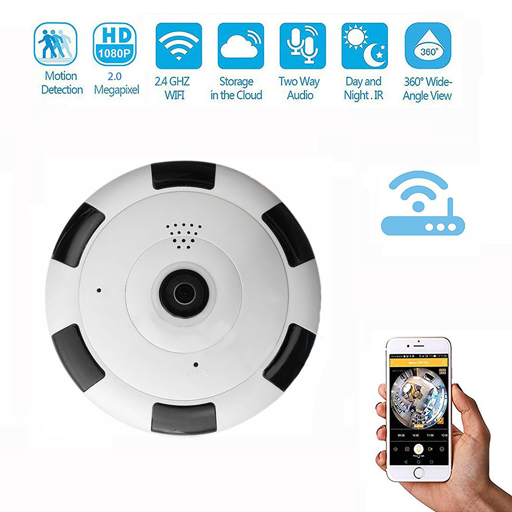 Panoramic 360 Degree Len Two Way Audio Home Security CCTV Camera HD 1080P Infrared Network Wireless Surveillance Box Cameras infrared wifi 360 panoramic cctv camera hd 1080p network wireless ip security surveillance h 264 home security fisheye camera