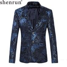 Shenrun Männer Floral Blazer Navy Blau Wein Roten Anzug Jacke Slim Fit Blazer Sänger Jacken Host Bühne Kostüm Musiker Größe m 6XL