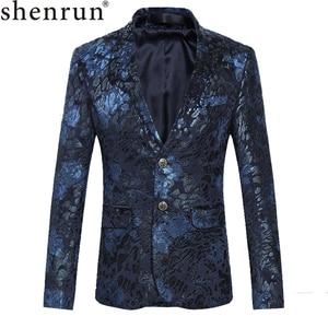 Image 1 - Shenrun Men Floral Blazers Navy Blue Wine Red Suit Jacket Slim Fit Blazer Singer Jackets Host Stage Costume Musician Size M 6XL
