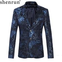 Shenrun 男性花ブレザー紺ワイン赤スーツのジャケットスリムフィットブレザー歌手ジャケットホストステージ衣装ミュージシャンサイズ m 6XL