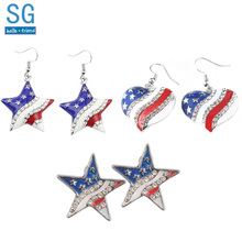 SG New Fashion American Flag Star Heart Crystal Shape Earrings Avengers Pentacle Girl Patriot Ear Studs Brincos Bijoux Gift