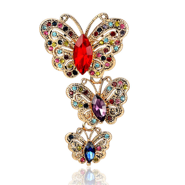 12pcs lot wholesale Antique Silver Vintage Butterfly Brooches For Women  Party Gifts Noble Austrian Crystal Brooch Hijab Pins 169ee643a38c