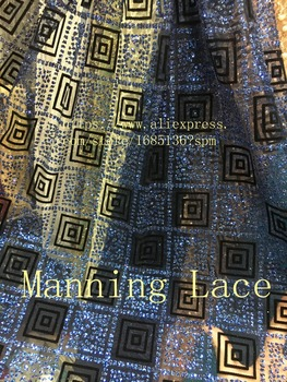 Manning-88038 with velvet and glitter special French tulle lace fabric hot sale african glued glitter lace fabric