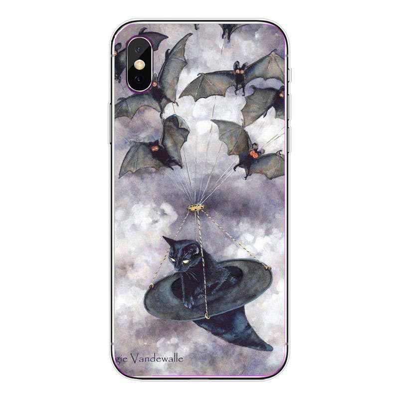 New Thánh Hóa Trường Hợp Điện Thoại Cho iPhone X Bìa Đối Với iPhone 8 8 Cộng Với 7 7 Cộng Với 6 6 s Cộng Với 5 5 s SE Đáng Sợ Mèo bat bí ngô Bảo Vệ Bìa