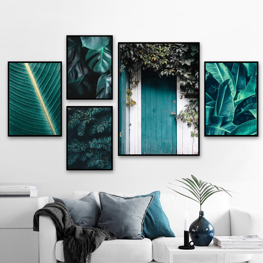 Green Plant banana Leaves Door Landscape Nordic Posters and Prints Wall Art Canvas Painting Wall Pictures For Living Room Decor-in Painting & Calligraphy from Home & Garden