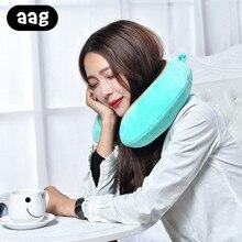 AAG U-shaped Travel Pillow Memory Foam Neck Support Pillows Headrest Soft Slow Rebound Airplane Flight Office Sleeping