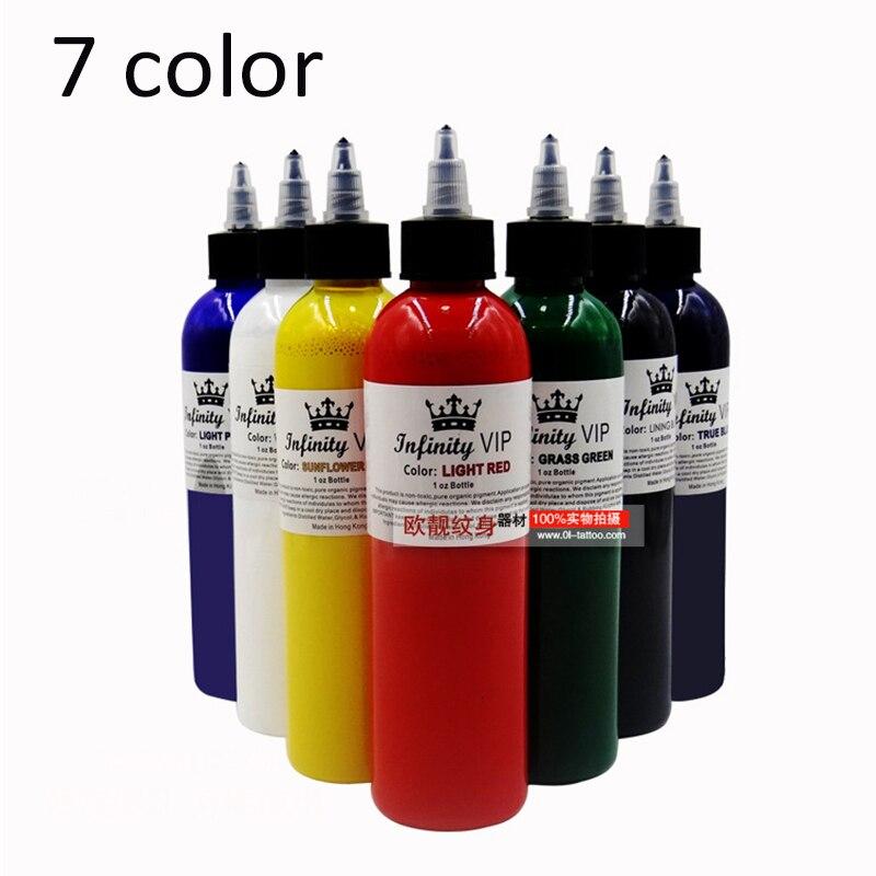 Tattoo Professional 8oz 7 Primary Colors Tattoo Ink Set Permanent ...