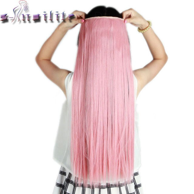 S-noilite Long Ash Pink 26 inches 66CM Clip in Natural Hair Extensions One Piece Straight Synthetic 3/4 Full Head Hair Extension