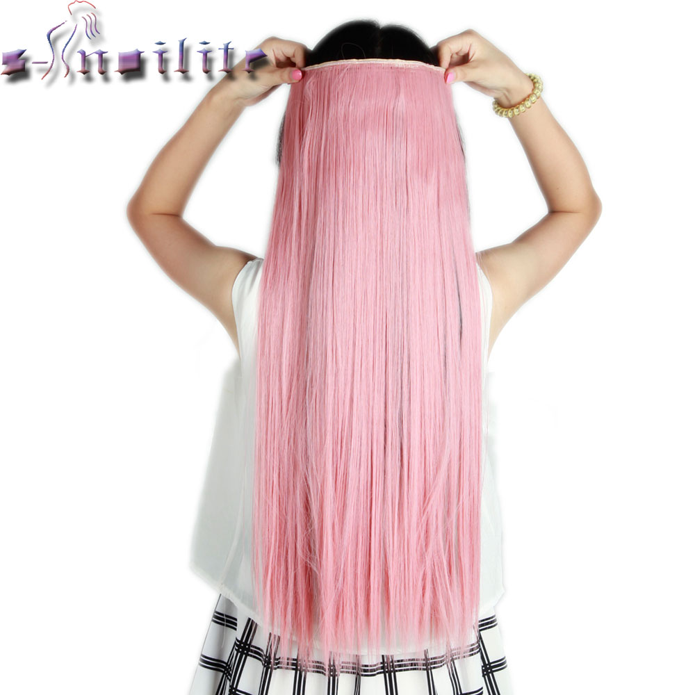 Online get cheap hair extension long ash aliexpress alibaba s noilite long ash pink 26 inches 66cm clip in natural hair extensions one piece pmusecretfo Images