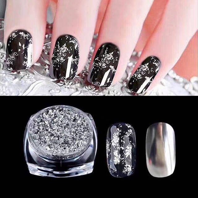 Blingbling Silver Gold Glitter Nail Flakes Mirror Effect Chrome ...