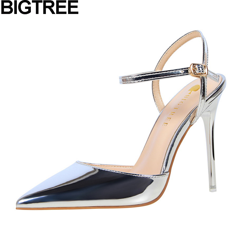 BIGTREE Women Pumps Metallic Faux Leather Sandals Thin High heel Stiletto D'orsay Slingback Pointy Toe Wedding Shoes Woman Nude new 2015 sophia layla metallic leather pom pom sandals women sandals wedding shoes