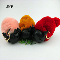 Sheep Shaun Key Chain Pompom Real Rex Rabbit Fur Genuine Keychain Wool Sheep Bunny Fur Pendant