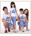 2016 Family  Fashion  Cartoon Family Clothing  Holiday mother son daughter father sets t shirt +Pants  family set