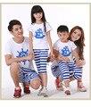2016 família moda família dos desenhos animados clothing férias mãe filha filho pai define t shirt + calças set família