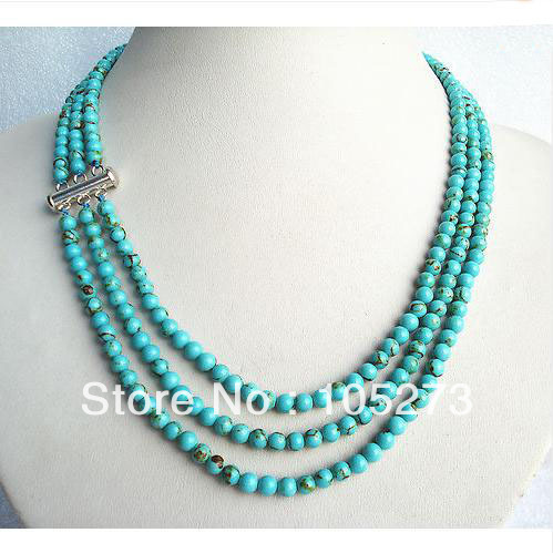 Charming 3 Rows 18-20'' 8MM Round Shaper Genuine Blue Color Turquoise Beads Gem Stone Necklace Fashion Jewelry Free Shipping