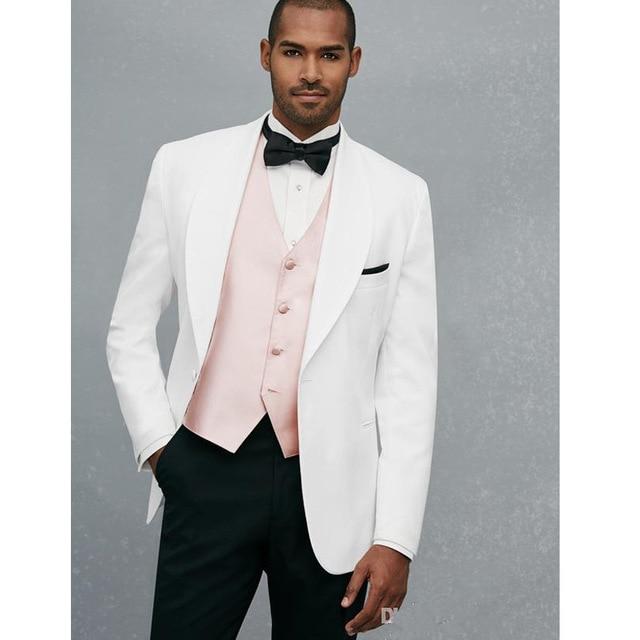 2017 Fresh Fashion White Men Suits With Light Pink Vest